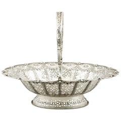 English Silver Cake Basket Antique Victorian
