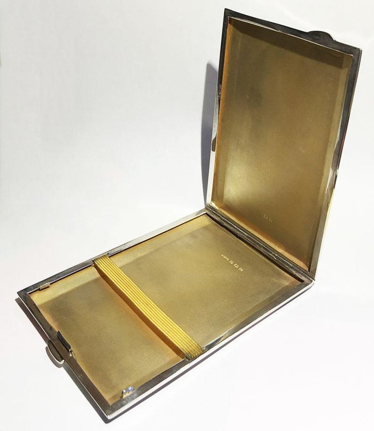 English silver cigars case by Joseph Gloster Ltd, Birmingham, 1949  Silver cigars case with gilded interior  For small thin and long cigars, approximate 1 cm diagonal fits  Hall marked by the Silver smith Joseph Gloster Ltd, in the period used