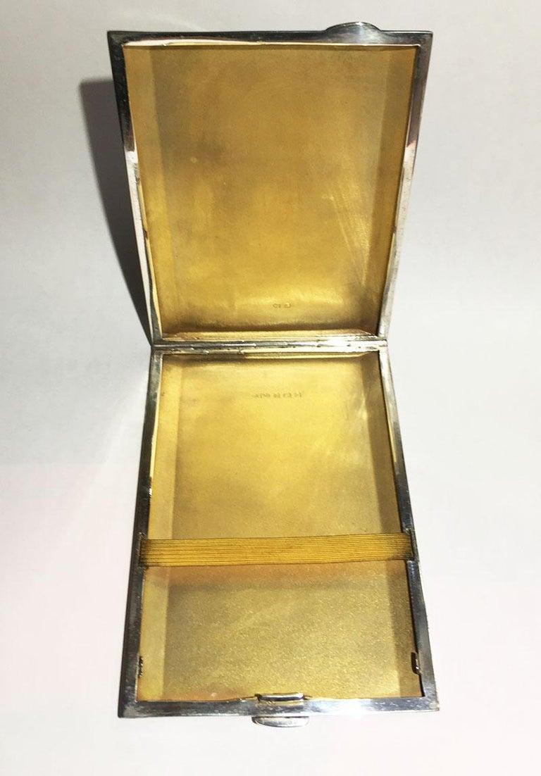 Gilt English Silver Cigars Case by Joseph Gloster Ltd, Birmingham, 1949 For Sale