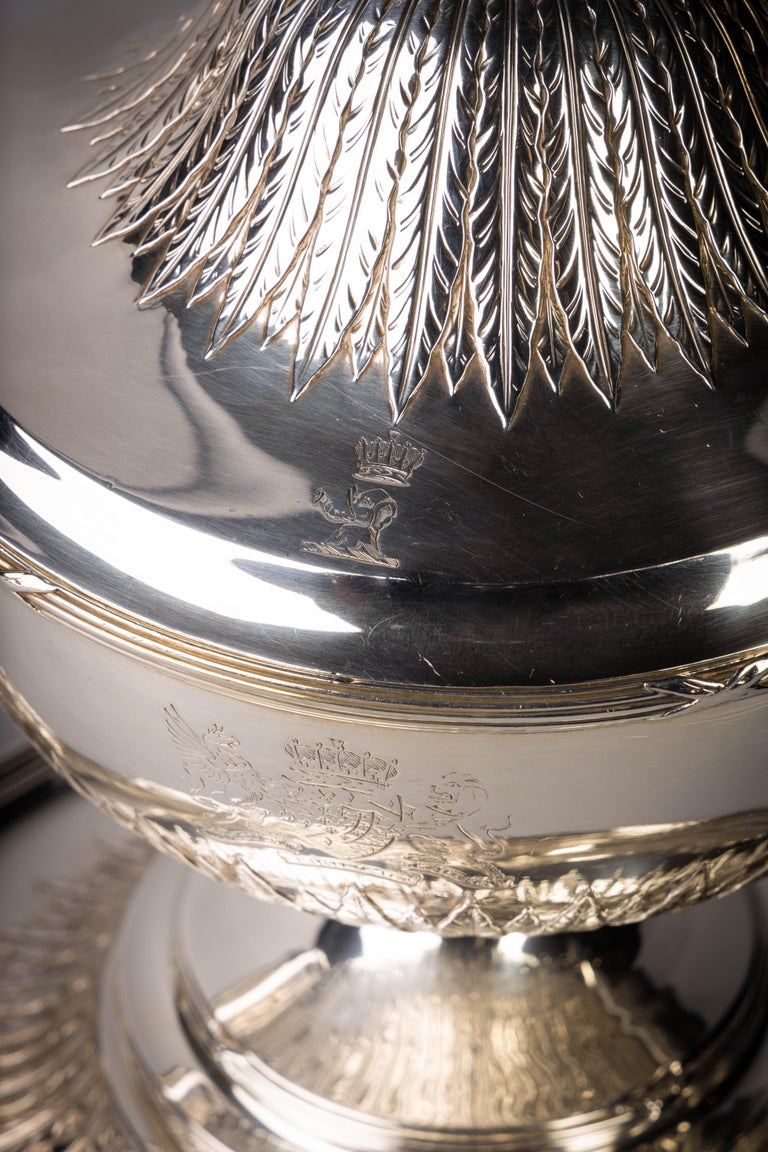 English Silver Covered Soup Tureen on Stand For Sale 3