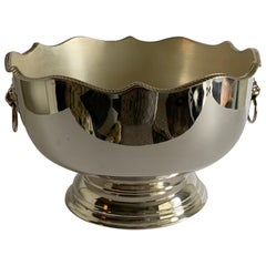 English Silver Lion Head Monteith or Punch Bowl