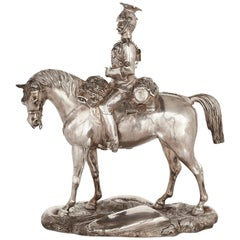 English Silver Military Equestrian Group by Stephen Smith & Son