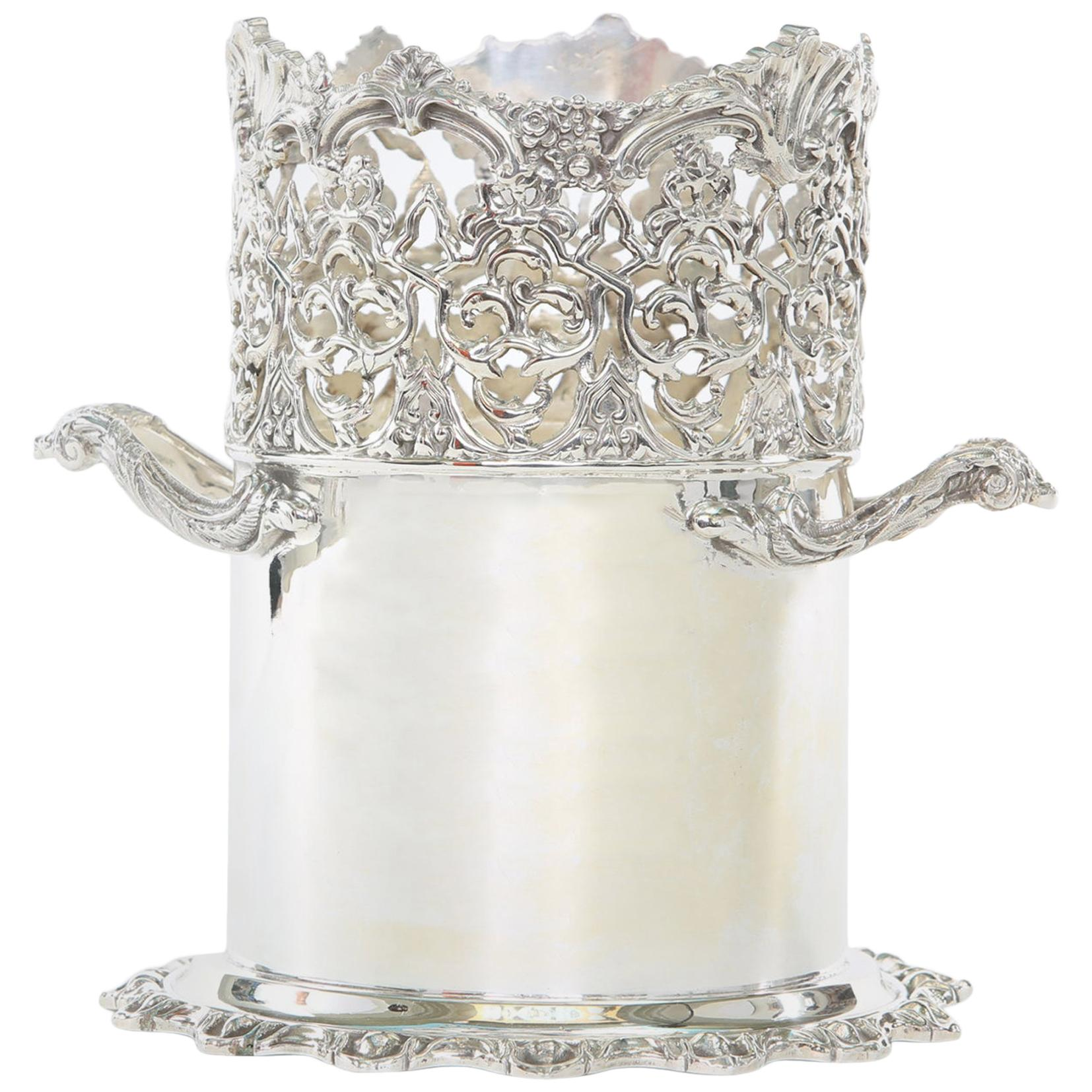 English Silver Plate Barware Bottle Holder