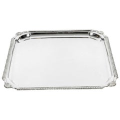 English Silver Plate Barware / Serving Footed Tray