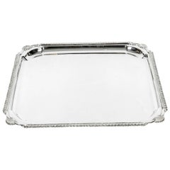 English Silver Plate Barware / Tableware Serving Footed Tray