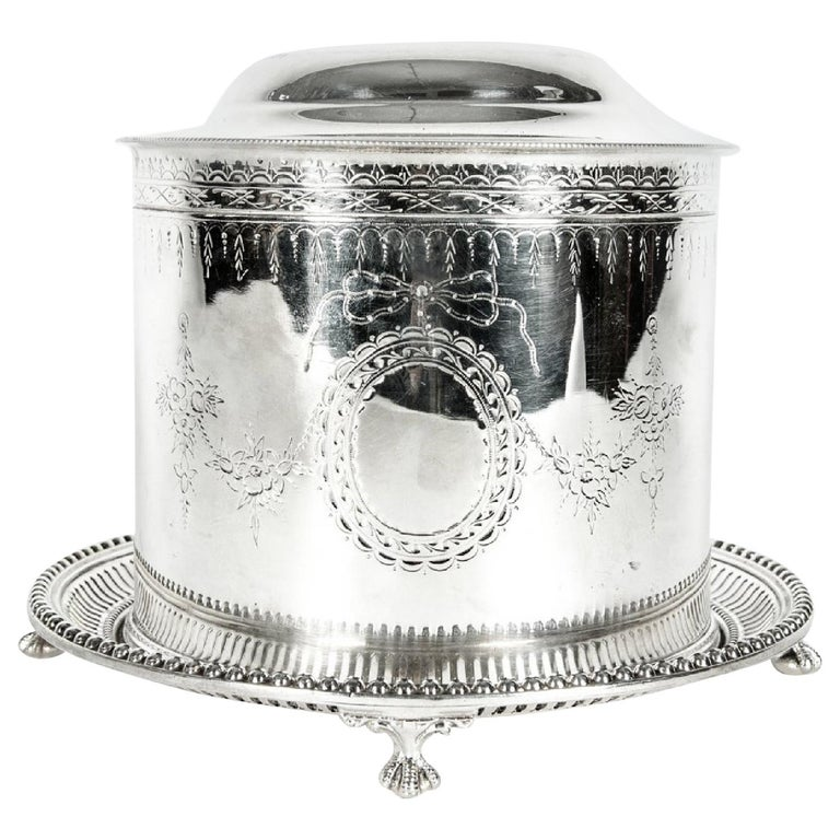 English Silver Plate Covered Biscuit Box / Tea Caddy For Sale
