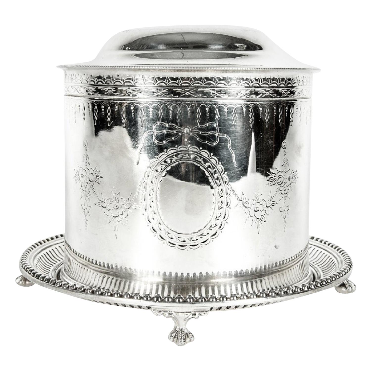 English Silver Plate Covered Biscuit Box / Tea Caddy