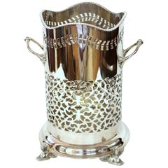 "English Silver Plate ""Egyptian Motif"" Hand Pierced Syphon or Wine Bottle Stand"