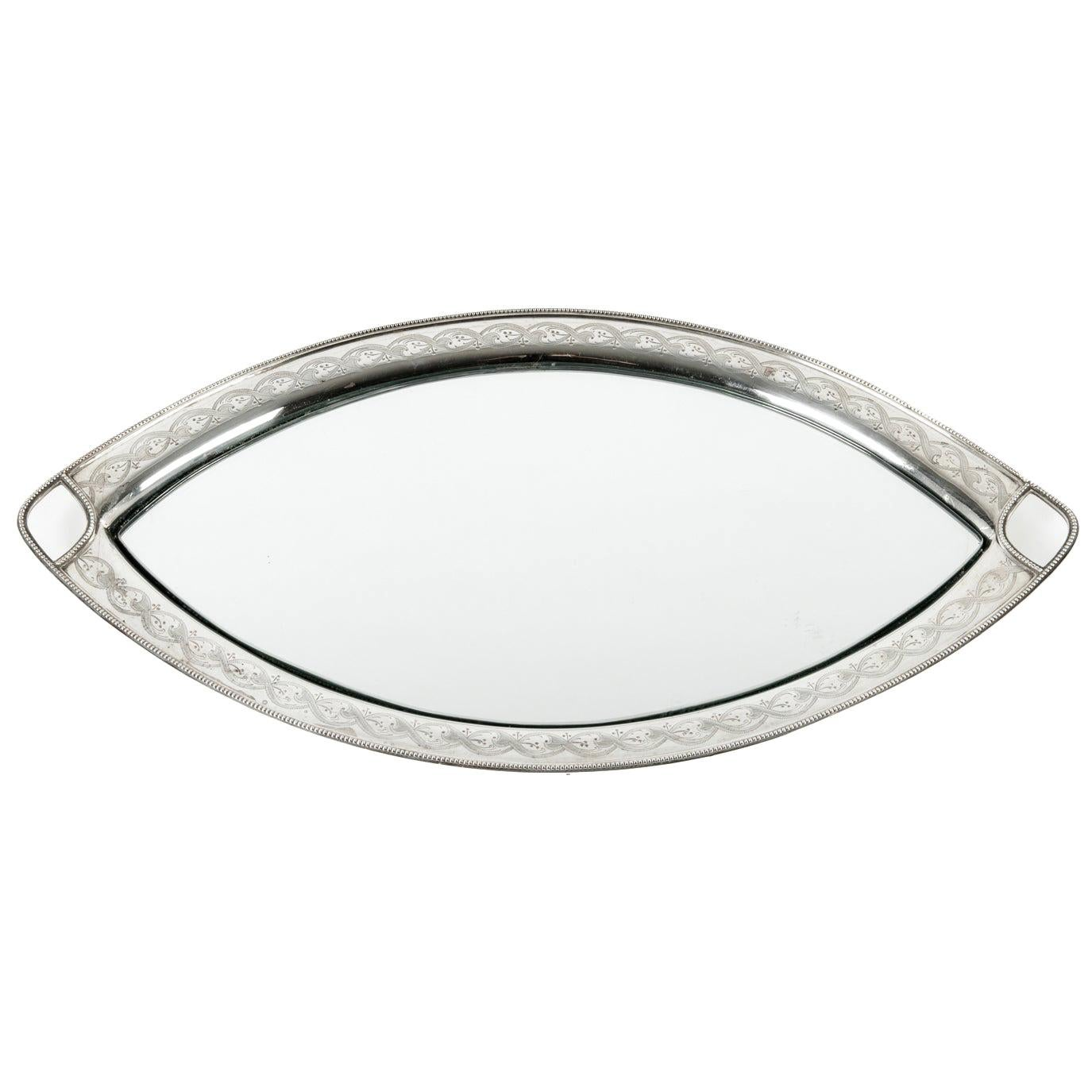 English Silver Plate Footed Oval Tray or Mirror Insert