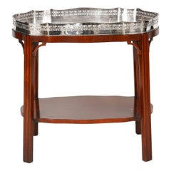English Silver Plate Gallery Tray on Mahogany Chippendale Style Stand