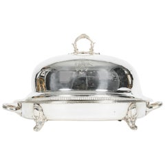 English Silver Plate Venison Dish with Covered Dome