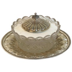 English Silver Plated and Crystal Caviar Dish, 1880