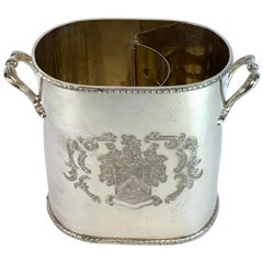 English Silver Plated Armorial Oval Wine Cooler, with Interior Caddy