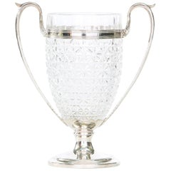 English Silver Plated Base or Cut-Crystal Holding Trophy Vase