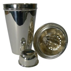 English Silver Plated Cocktail Shaker with Lemon Squeezer, circa 1930
