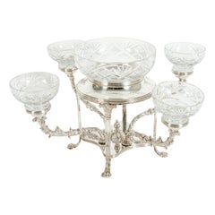 English Silver Plated / Cut Crystal Four Arms Centerpiece / Epergne