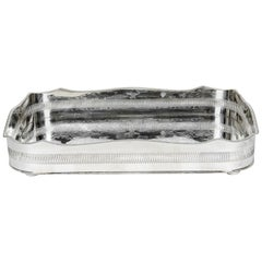 English Silver Plated High Bordered Gallery Barware Tray