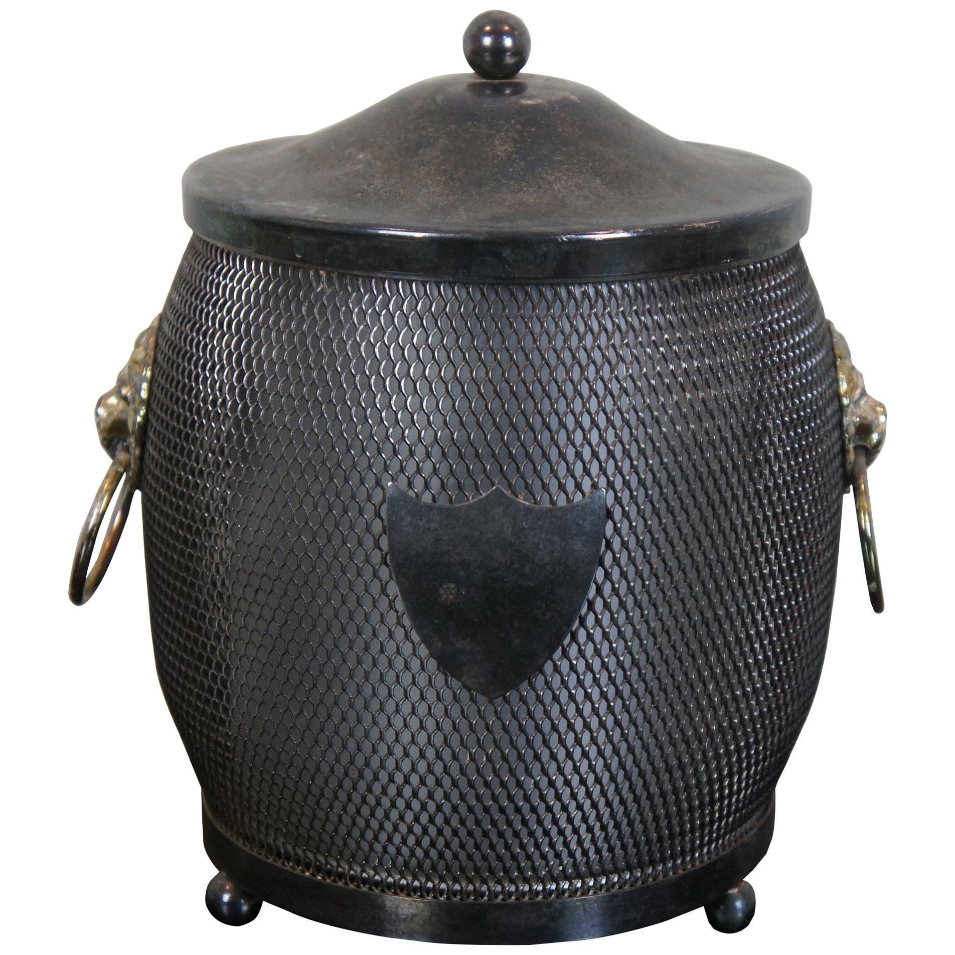 English Silver Plated Lion Head Shield Tea Caddy Biscuit Barrel Jar Ice Bucket
