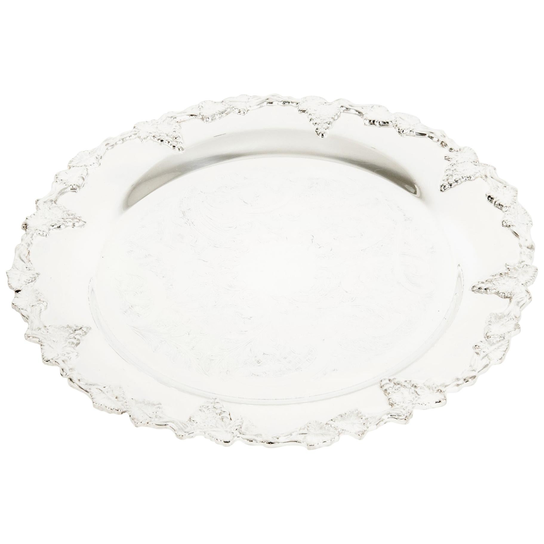 English Silver Plated Round Barware / Tableware Tray