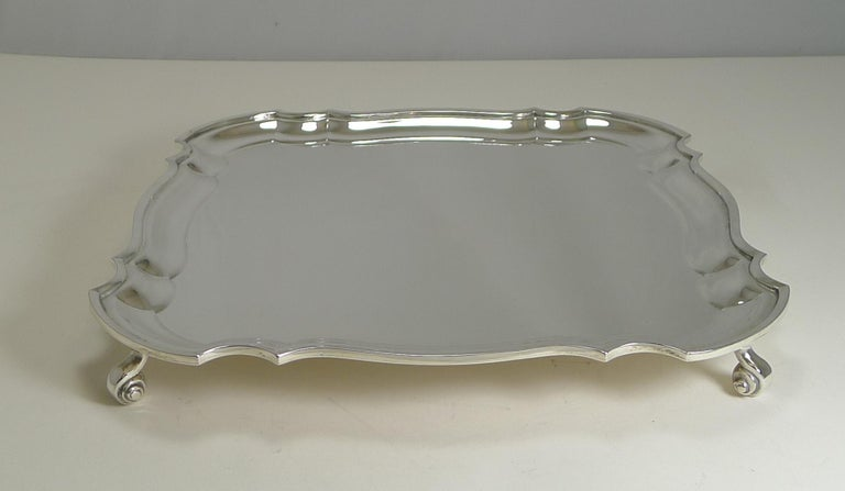 English Silver Plated Square Salver or Tray, circa 1920 In Good Condition For Sale In London, GB