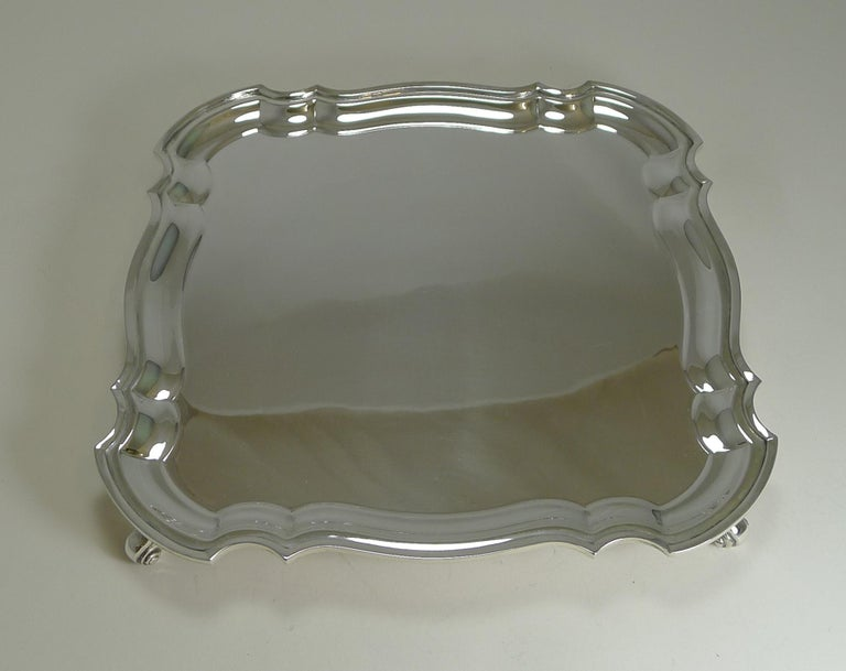 English Silver Plated Square Salver or Tray, circa 1920 For Sale 2