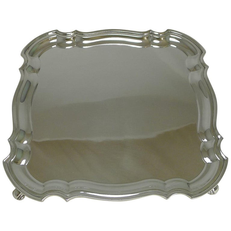 English Silver Plated Square Salver or Tray, circa 1920 For Sale