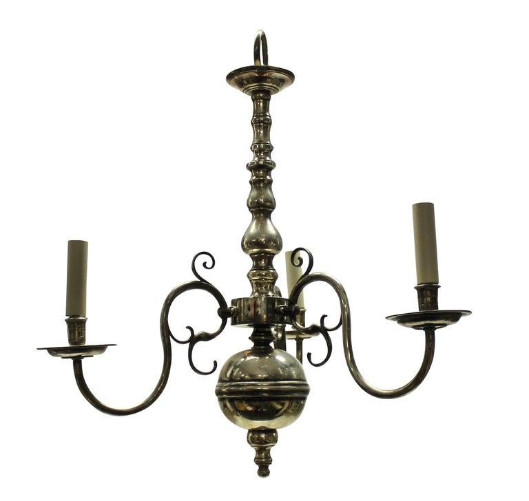 An English silver plated three branch chandelier in the 17th century manner.