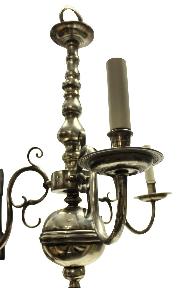 Silvered English Silver Plated Three Branch Chandelier