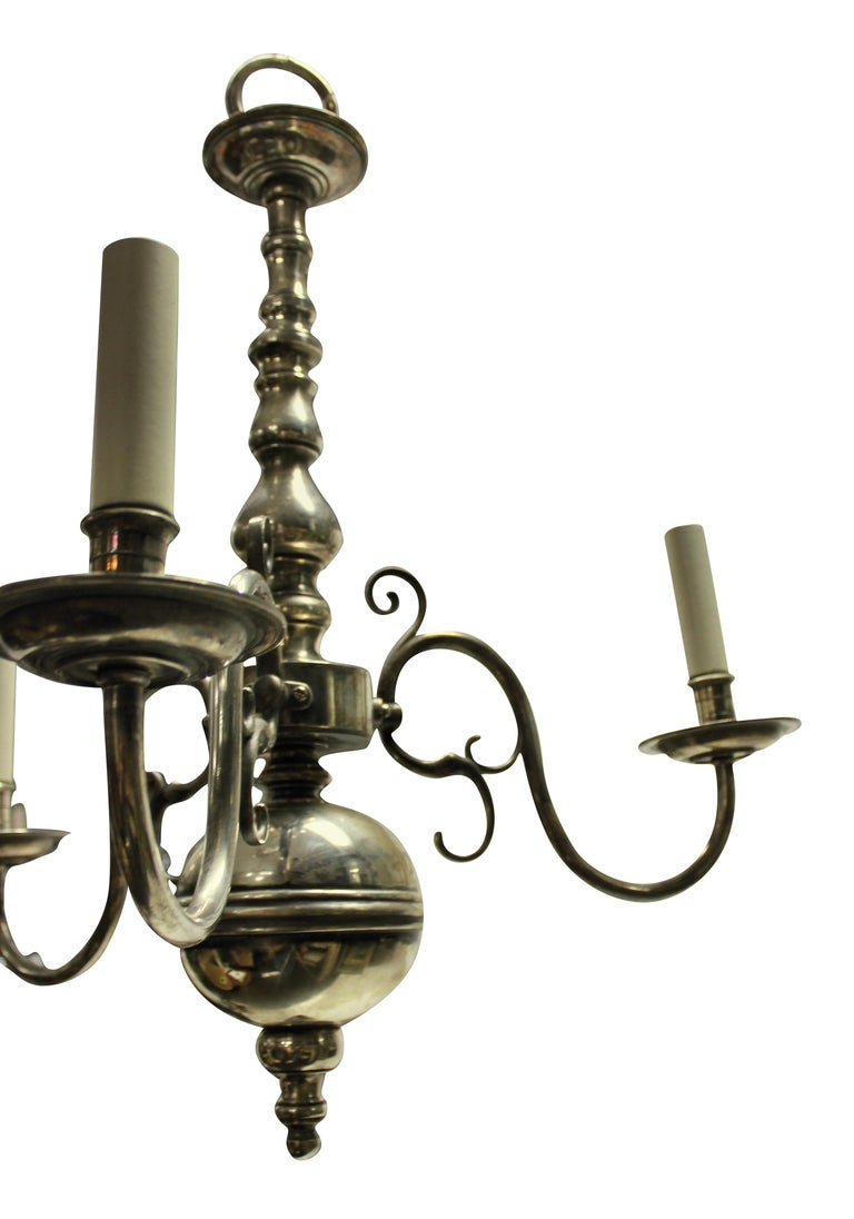 English Silver Plated Three Branch Chandelier In Good Condition In London, GB