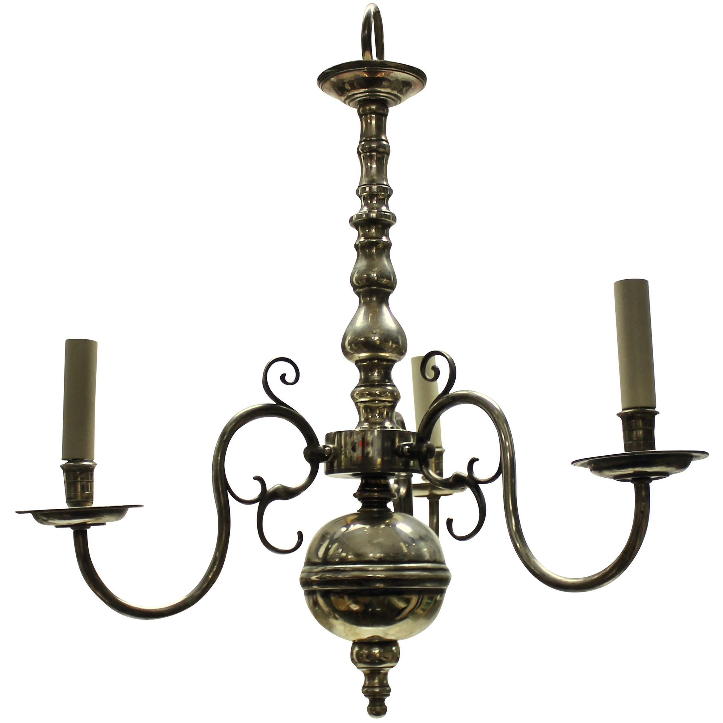 English Silver Plated Three Branch Chandelier