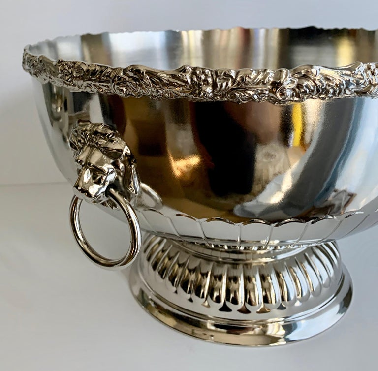 English Silver Punch Bowl with Rim and Lion Handle Details For Sale 1