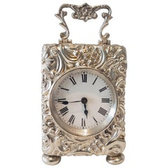 English Silver Rococo Miniature Carriage Clock by Henry Matthews, Birmingham