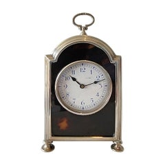 English Silver & Tortoiseshell Carriage Clock in Form of Bracket Clock