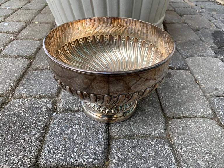 English Silvered Punch Bowl/Centerpiece by Mappin & Webb, circa 1930s For Sale 5