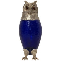 English Silverplated Owl Motif Decanter