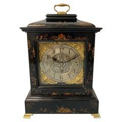 English Single Fusee Black Chinoiserie George III Style Mantel Clock, circa 1880