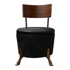 English Single Unusual Mid-Century Bronze Horse Leg Occasional Chair
