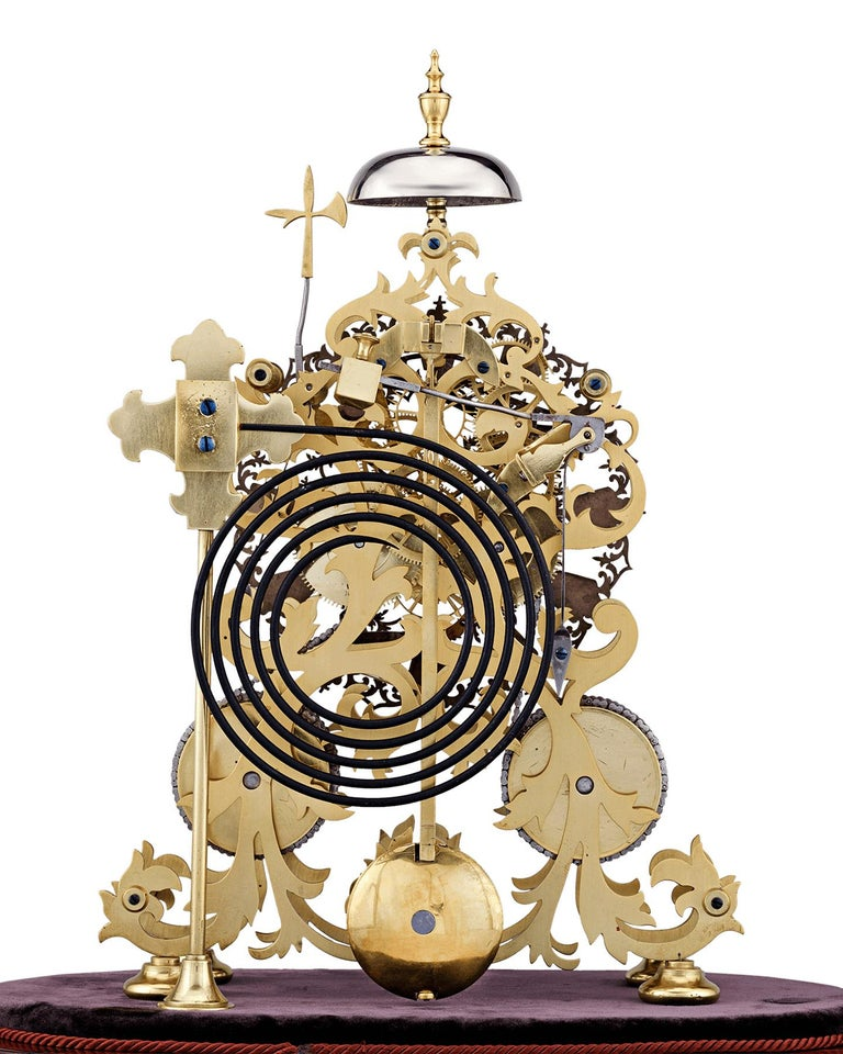 Gothic English Skeleton Clock by J. Smith & Sons of Clerkenwell For Sale