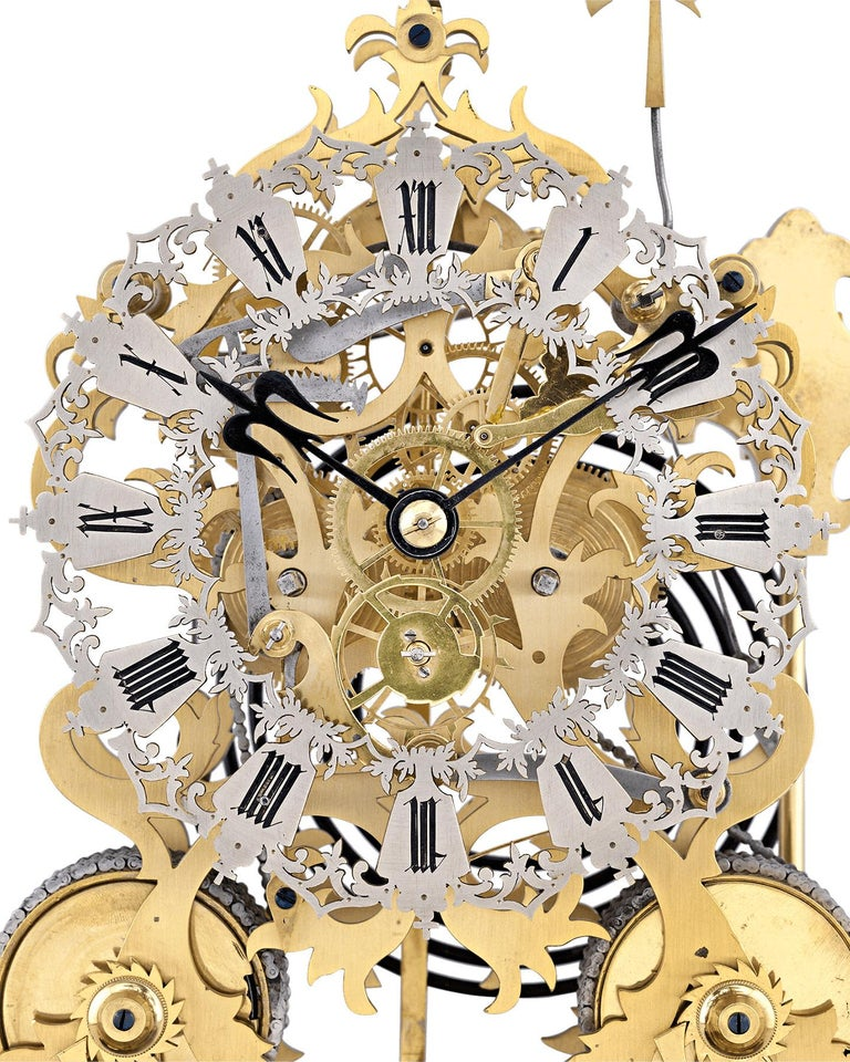 19th Century English Skeleton Clock by J. Smith & Sons of Clerkenwell For Sale