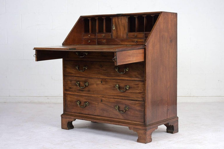 19th Century English Slant Front Secretary Desk, circa 1820s For Sale