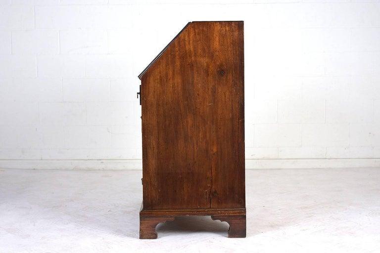 Leather English Slant Front Secretary Desk, circa 1820s For Sale