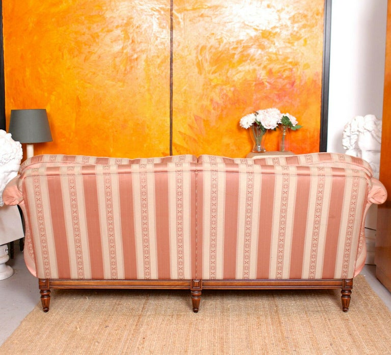 English Sofa 3-Seat Carved Mahogany Couch For Sale 6