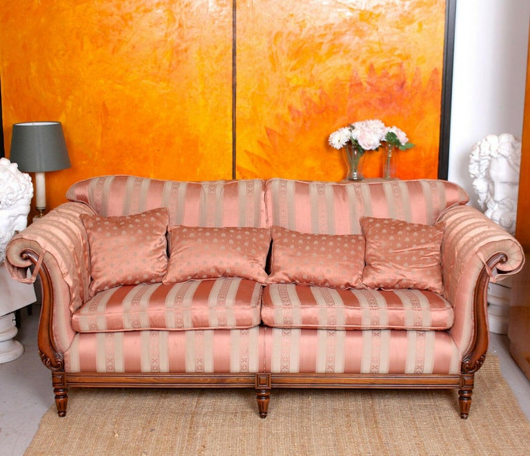 20th Century English Sofa 3-Seat Carved Mahogany Couch For Sale