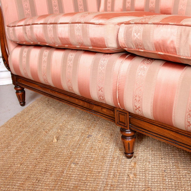 English Sofa 3-Seat Carved Mahogany Couch For Sale 1