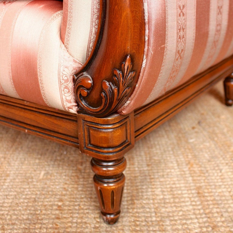 English Sofa 3-Seat Carved Mahogany Couch For Sale 2