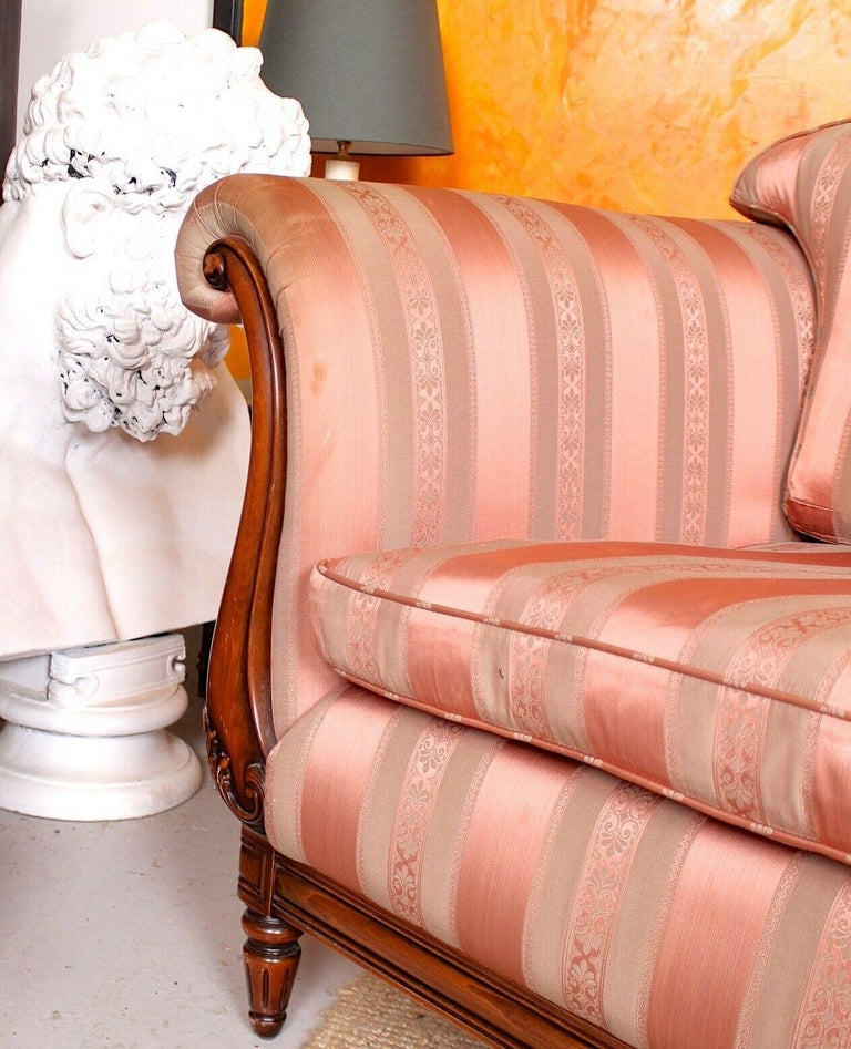 English Sofa 3-Seat Carved Mahogany Couch For Sale 3