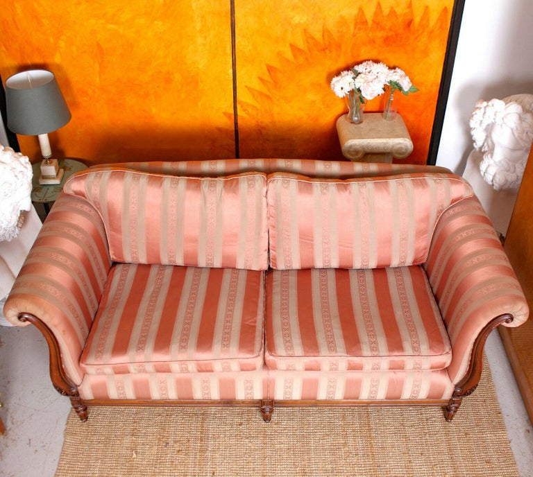 English Sofa 3-Seat Carved Mahogany Couch For Sale 4