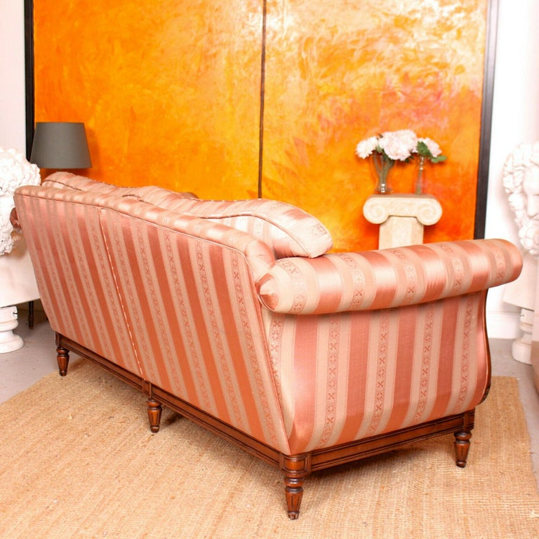 English Sofa 3-Seat Carved Mahogany Couch For Sale 5