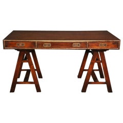 English Solid Mahogany and Brass Campaign Style Writing Table Desk