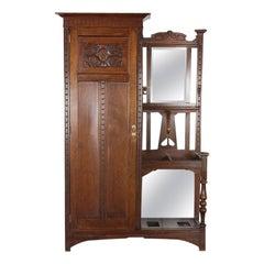 English Solid Oak Arts & Crafts Mission Hall Wardrobe Hallstand
